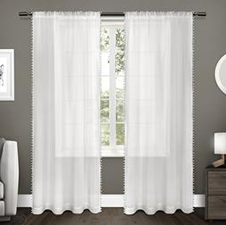 Exclusive Home Curtains Kids Pom Pom Textured Sheer Bordered