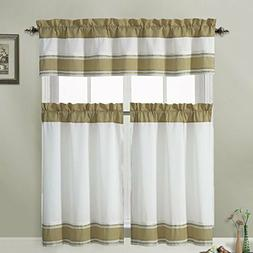 3 Piece Kitchen Window Treatment Set with Pintuck Accent Str