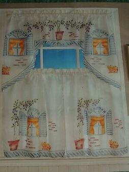 """KITTY CAT KITCHEN CURTAIN SET 2 TIERS WITH SWAG VALANCE 36"""""""