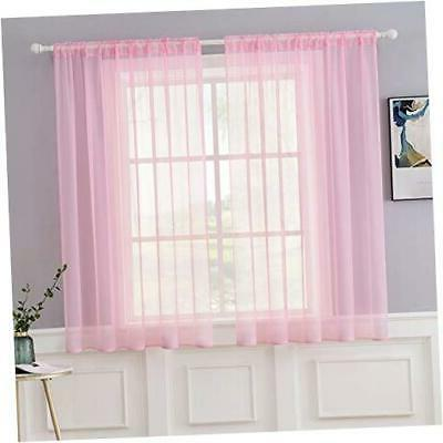 2 panels solid color sheer window curtains