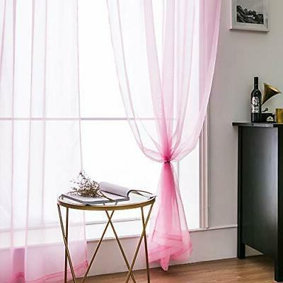 2 Sheer Curtains Window Voile Panels/Drapes/T