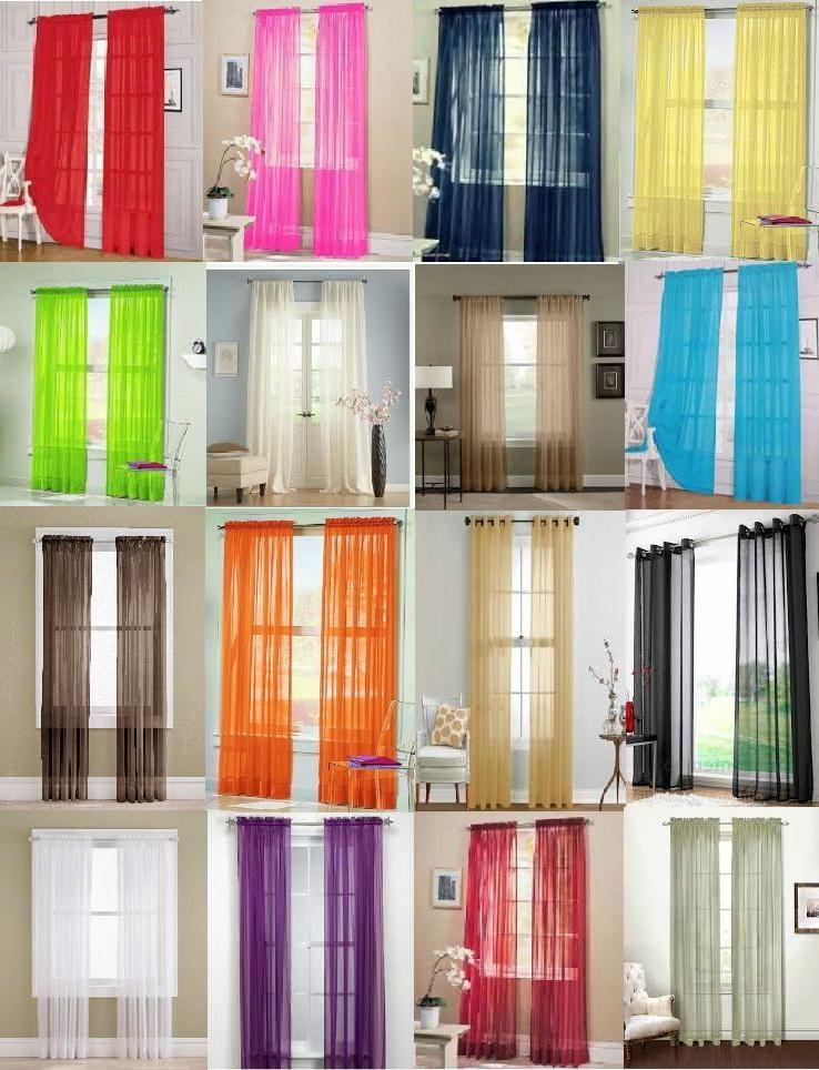 """2Pc Sheer Voile Window Panel curtains DRAPE 63"""" ,84 ,95"""" or"""
