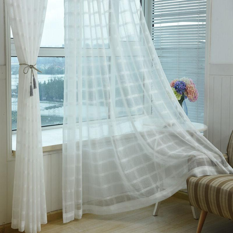 White Tulle Sheer Curtain Panels 63 inch Long Woven Square D