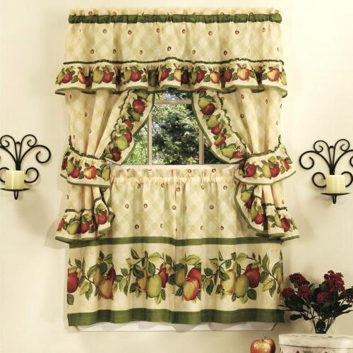 apple orchard kitchen curtain with swag