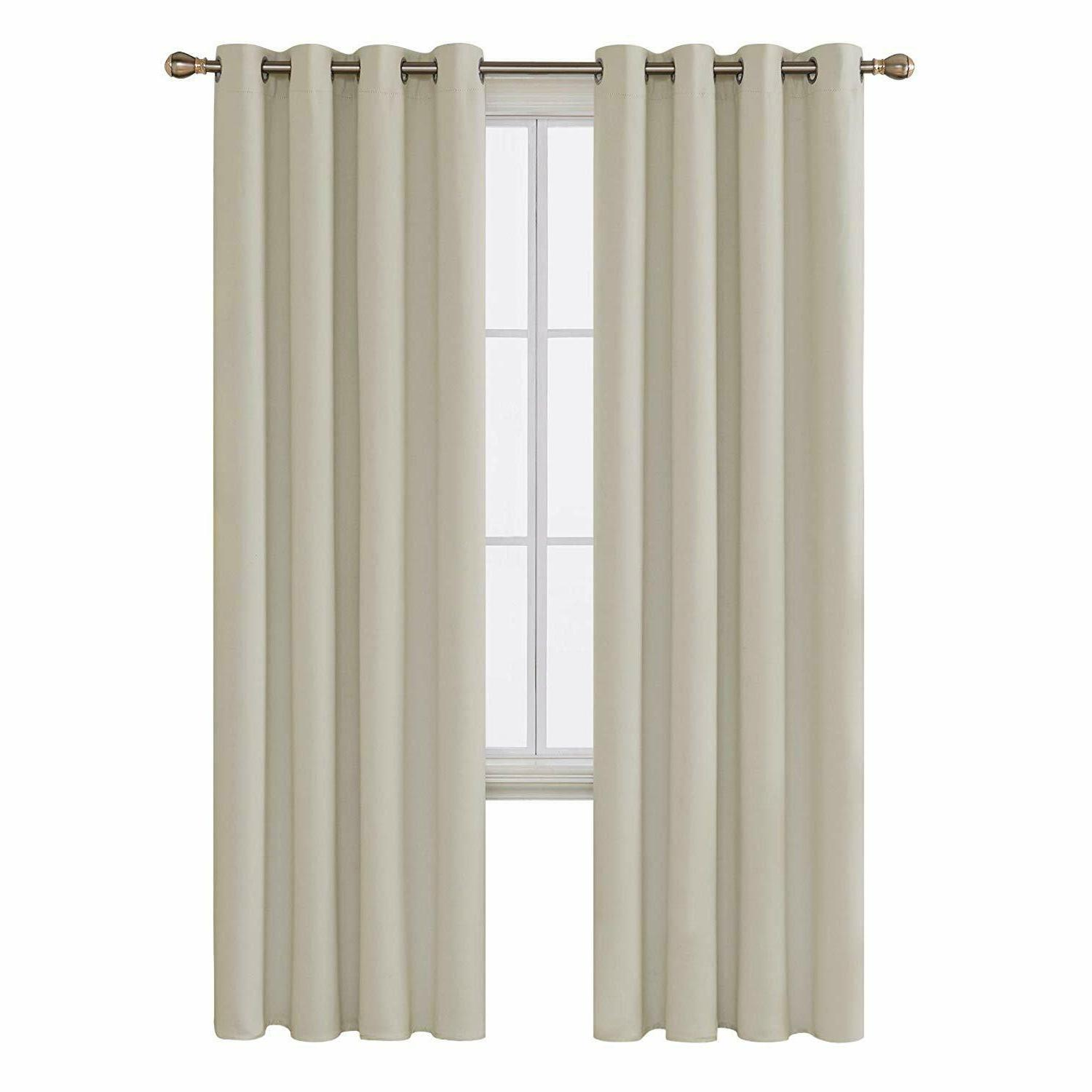 beige blackout curtains thermal insulated rod pocket