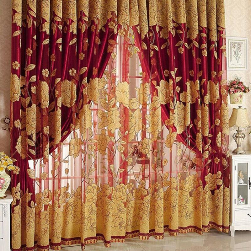 Flower Living Window Tulle Curtains
