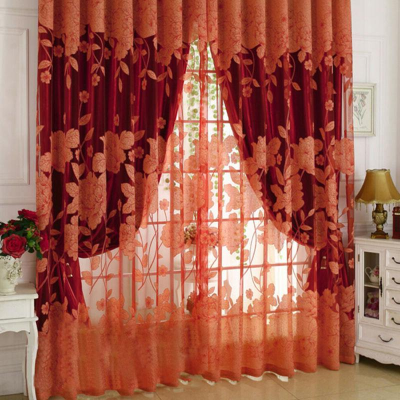 Flower Pattern Voile Living Tulle Sheer Curtains