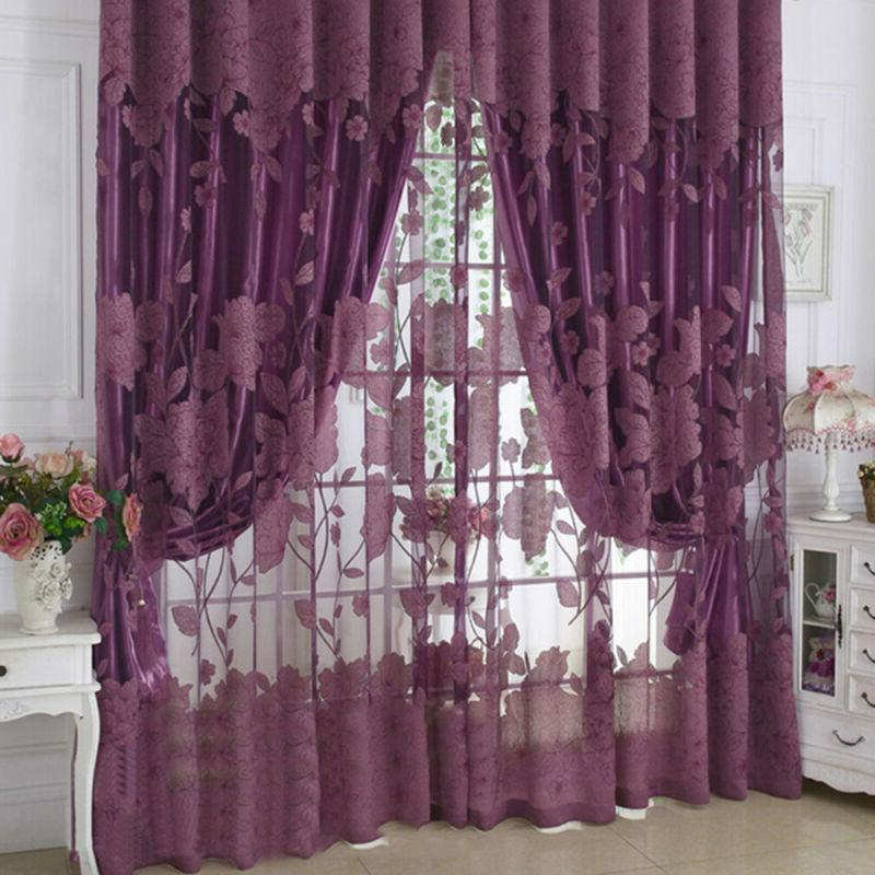 Flower Voile Living Room Window Curtain Tulle