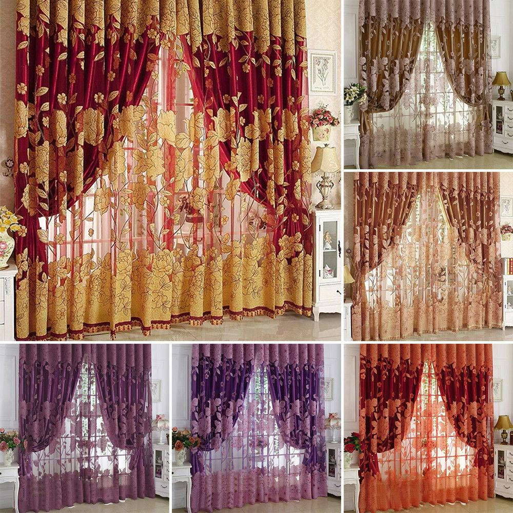 flower pattern voile curtains living room window