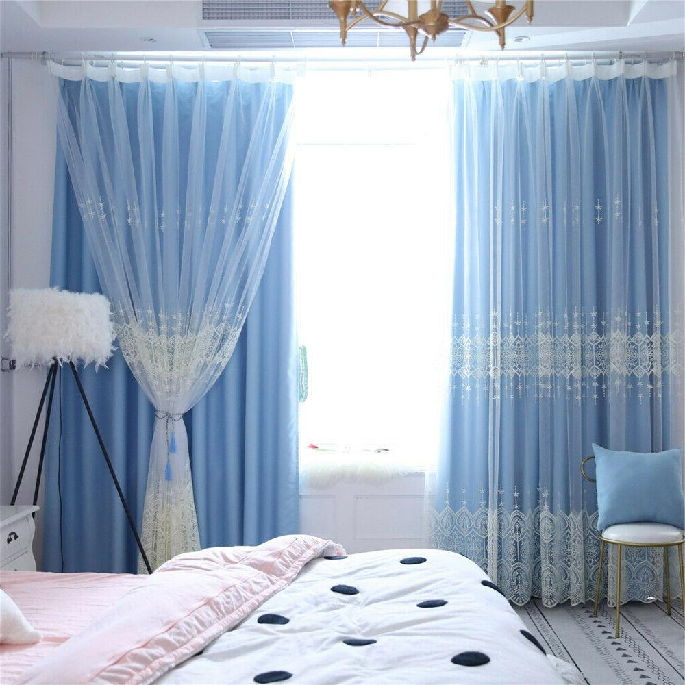 Double-Layer Embroidered Curtain Window Room Panel