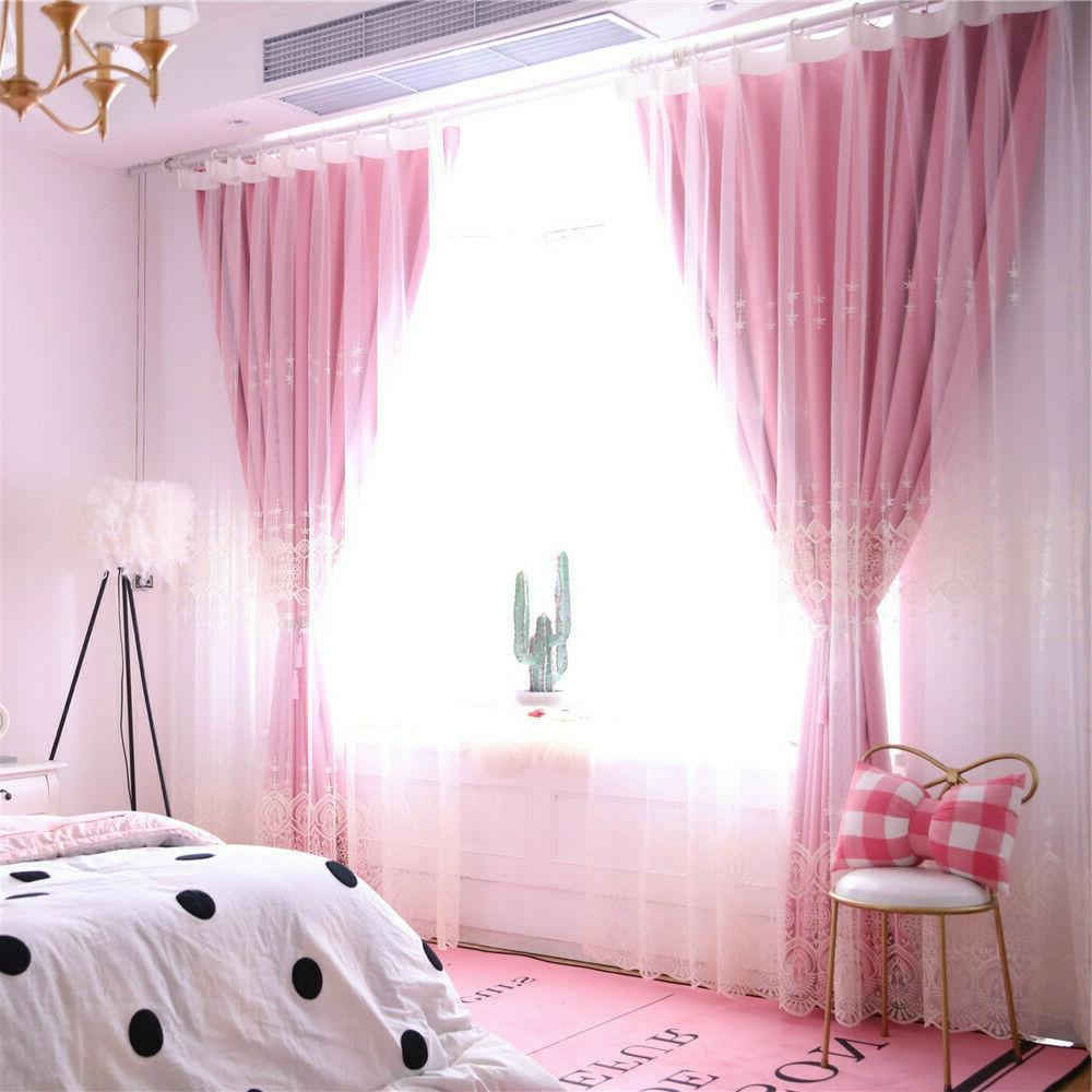 Double-Layer Embroidered Curtain Window Room
