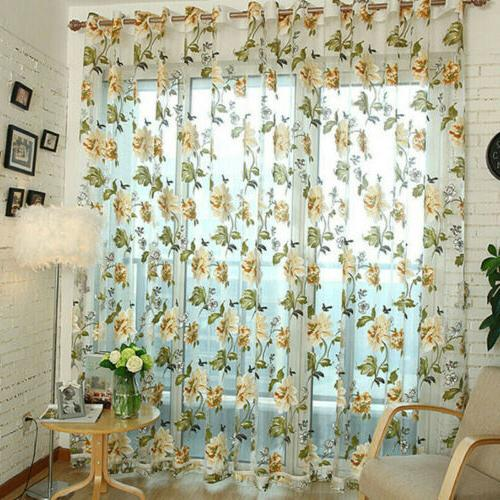 Window Curtains For Living Room Floral Sheer Tulle For Bedro