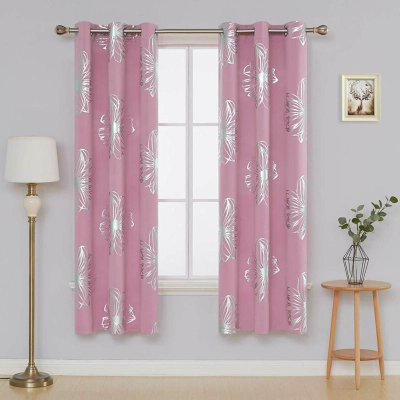 Foil Print Floral Thermal Insulated Window Blackout Curtains