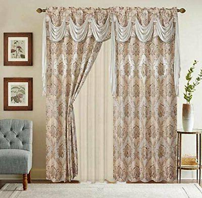Jacquard W/Attached Valance+Sheer