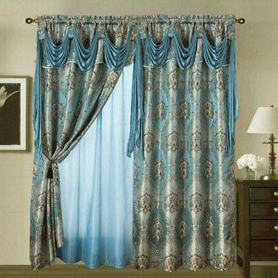 Jacquard Window W/Attached Valance+Sheer Backing +Tassels.