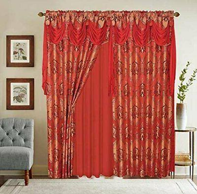 Jacquard Window Curtain W/Attached Backing