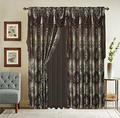 jacquard window curtain drapes w attached valance