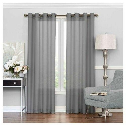 Eclipse Liberty Light Filtering Sheer Curtains - Gray 52 x 9