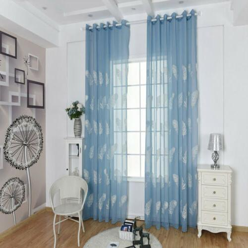 Luxury Embroidered Feather Sheer Curtain Window Voile Panels