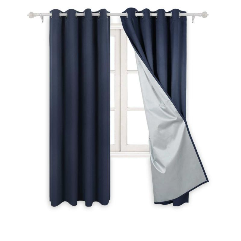 Deconovo Navy Blue Thermal Insulated Blackout Curtains Gromm