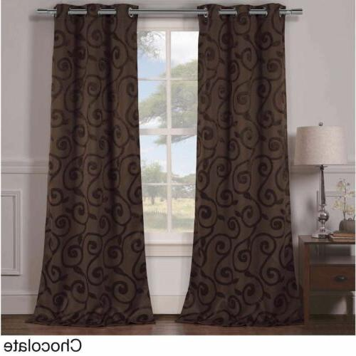 Set 2 Brown Floral Scroll Curtains Panels Drapes 84 inch Lon