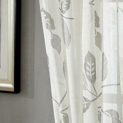 MRTREES Kitchen Tiers Curtains 36 Inch Length Flax Floral and