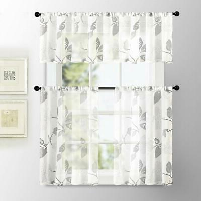 MRTREES Kitchen Curtains Inch Flax Linen Floral and