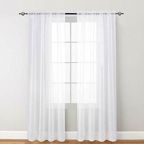 Sheer White Curtains for Living Room Bedroom Voile Drapes Wi