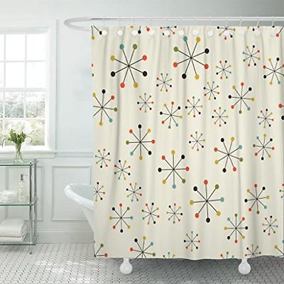 Emvency Shower Curtain 60S Mid Century Absctract Geometric P