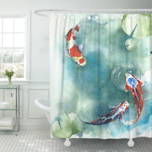 Emvency Shower Curtain Colorful Carp Fish Japanese Symbol in