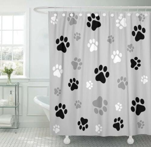 shower curtain colorful cat pawprint 72x 72