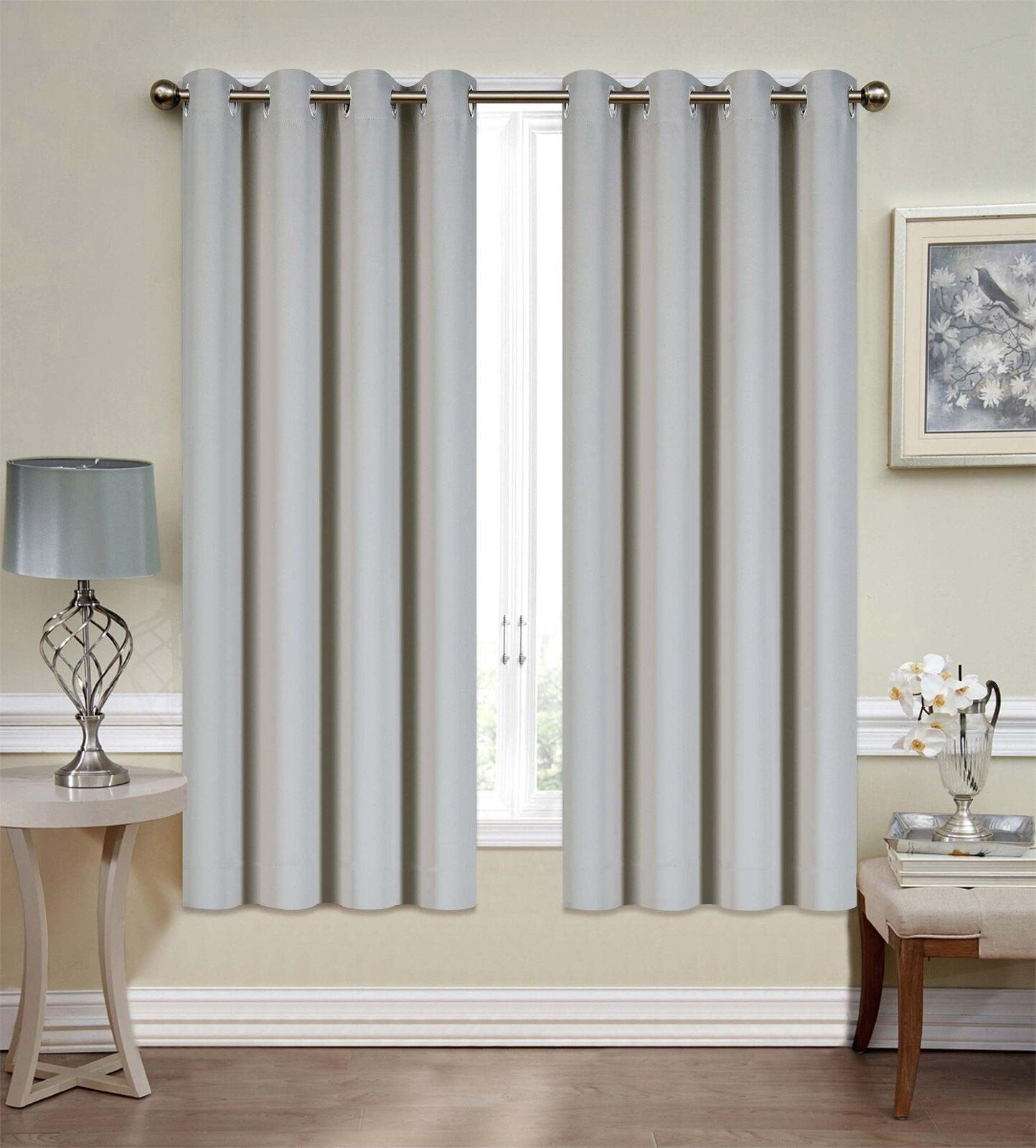 """Mellanni Blackout Curtains 52""""x63"""" Thermal Silver Grommets"""