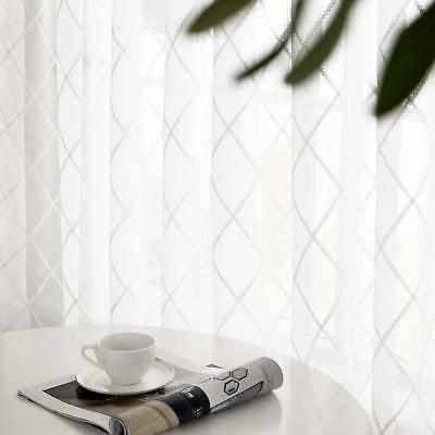 Deconovo Embroidered Faux Curtains Pocket Sheer