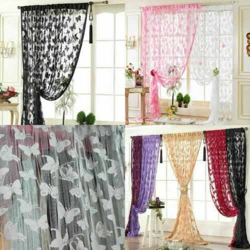 US Colorful Printed Butterfly Window Tulle Voile Sheer Curta