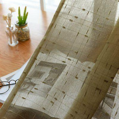 jinchan Voile Curtains for Living 84 Inch Long Checkered Linen