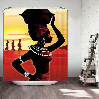 Waterproof African Non-Slip Bathroom Shower Curtain Cover