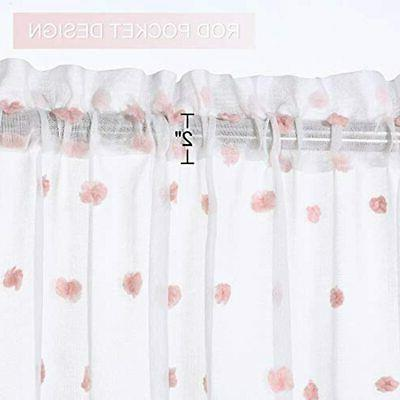 White Cafe Curtains Inches Pompoms Design, Pocket