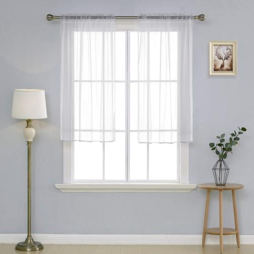white sheer curtains 54 inch length rod