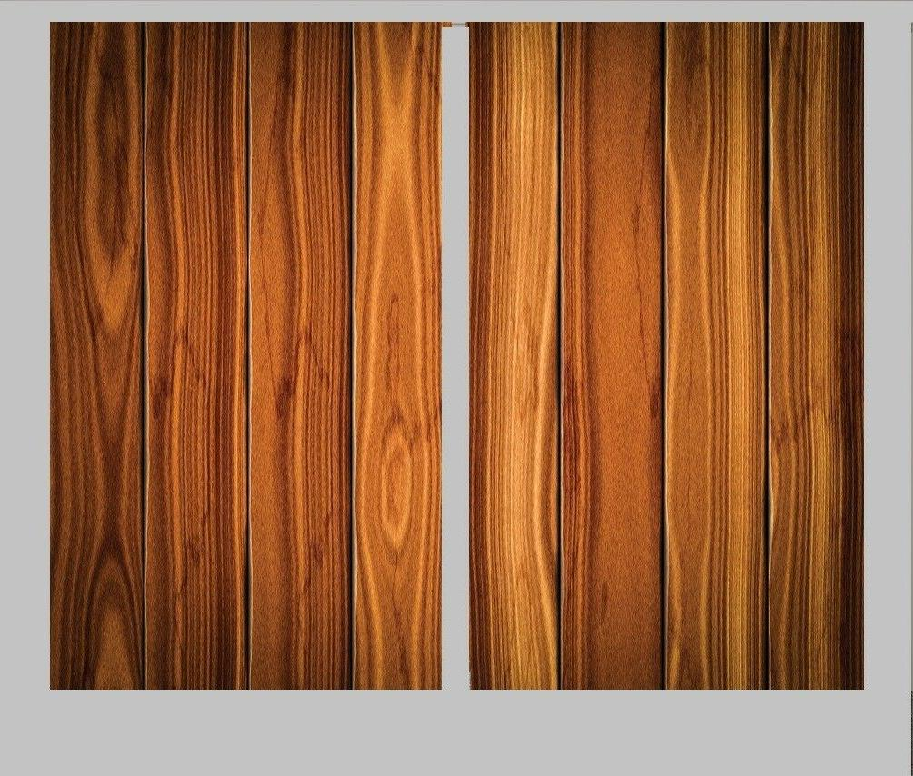 wooden plank board curtains set 2 panels