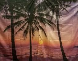 Ambesonne Lavender Curtains Ocean Decor, Palm Trees & Sunset