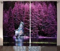 Lavender Curtains Purple Trees by Lake Window Drapes 2 Panel