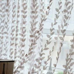 Leaf Pattern Window Voile Sheer Curtain for Bedroom Living R