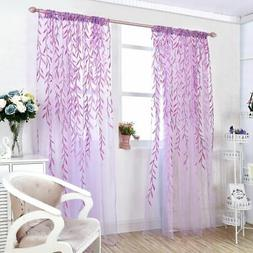 Leaves Print Design Sheer Room Curtain Pattern Voile Panel D