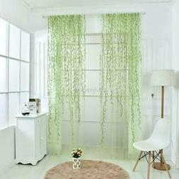 Leaves Print Pattern Design Sheer Room Curtains Voile Panel