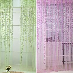 Leaves Print Tulle Sheer Curtains Voile Panel Drape Room Win