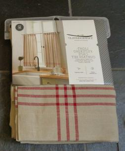 """Threshold Light-Filtering Cafe Curtain Set Two - 42""""x36"""" LIN"""
