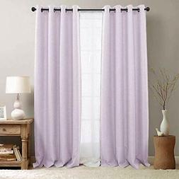 jinchan Linen Look Curtains for Living Room Moderate Curtain