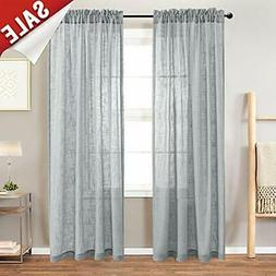 Linen Panels Look Sheer Window Curtains For Living Room Drap