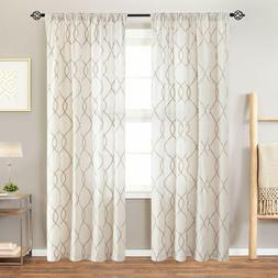 Linen Textured Curtains for Living Room Long Wavy Window Cur