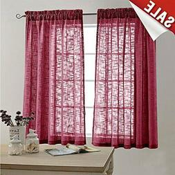 Linen Textured Sheer Curtains for Bedroom Curtain 63 inches